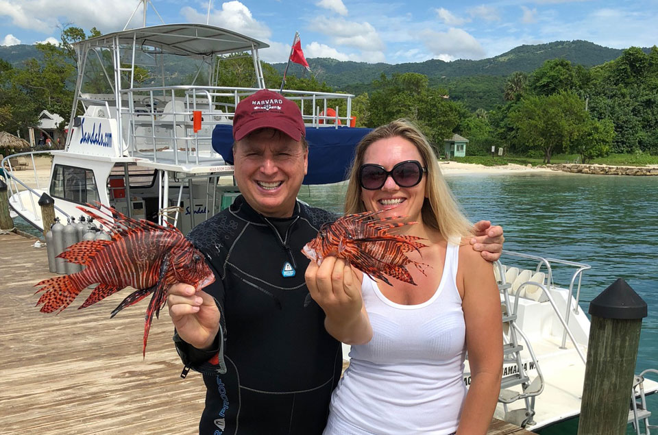 Roger and Andrea with lionfish