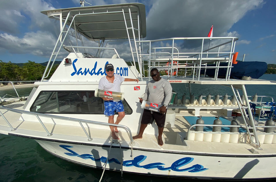 Roger Muller, Jr and Andre on Sandals dive boat