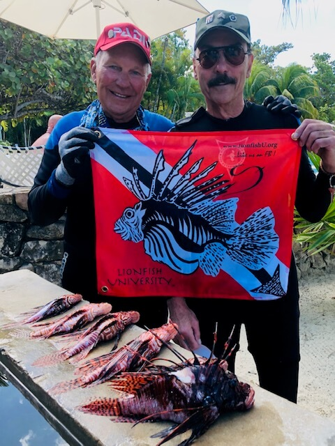 Ronald J Holzman with lionfish catch