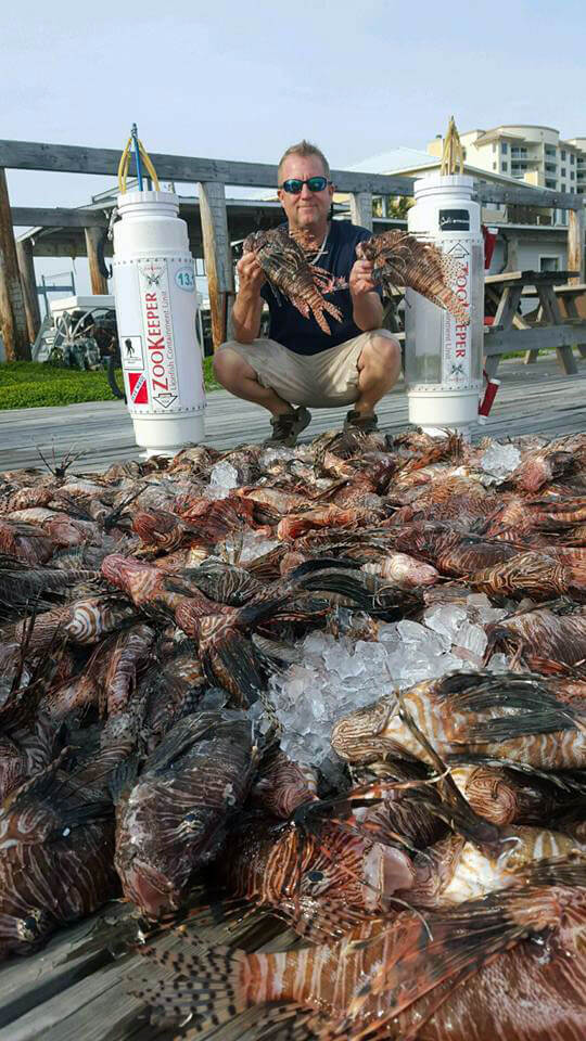 Captain Andy Ross with lionfish catch